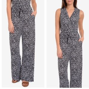 NY Collection Printed Tile -Waist Jumpsuit